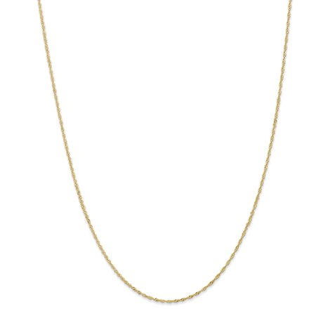 14k Yellow Gold 1.10mm Link Singapore Chain Necklace 24 Inch Pendant Charm