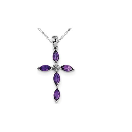 Natural Purple Amethyst Cross Pendant Necklace in Sterling Silver 1.00 Carat (ctw) with -