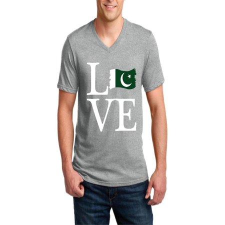 Love Pakistan Men V-Neck Shirts Ringspun Tee