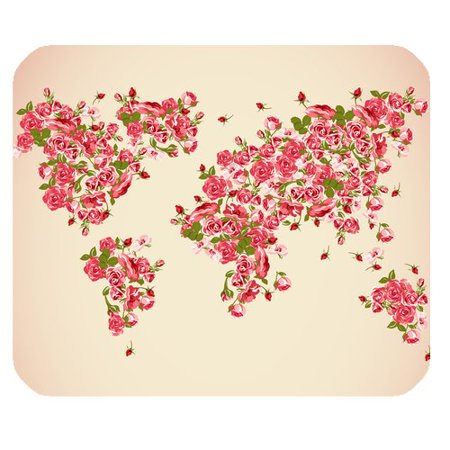 MKHERT World Map with Red Rose Flowers Rectangle Mousepad Mat For Mouse Mice Size 9.84x7.87 inches