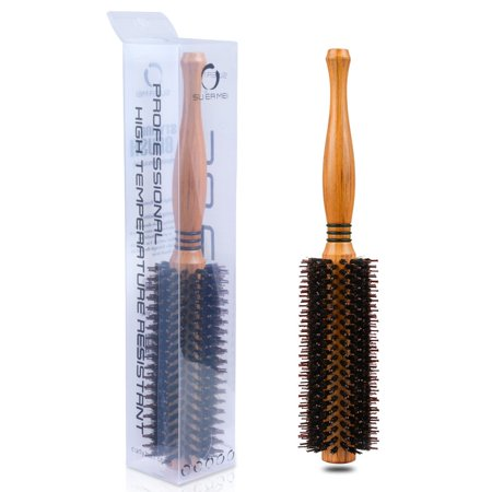 Professional Natural Soft Boar Bristle Full Round Hairbrush with Wood Handle, 2 inch, Magic Detangling Hair Brushes for Fine Wet Dry Thick Thin Long Coarse Frizzy Matted Knotted (Best Brush For Coarse Hair)