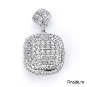 Dazzlers Sterling Silver Cubic Zirconia Cushion-shaped Pendant