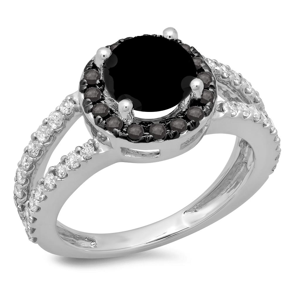 2.33 Carat (ctw) 10K White Gold Round Black & White Diamond Ladies Bridal Split Shank Halo Style Engagement Ring