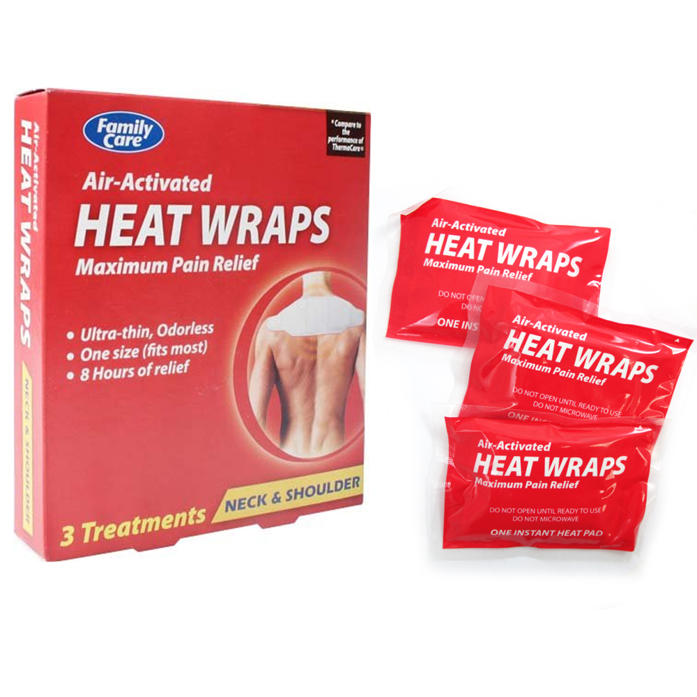 3 Heat Wraps Air-Activated Body Pain Relief Neck Shoulder Heat Therapy One Size