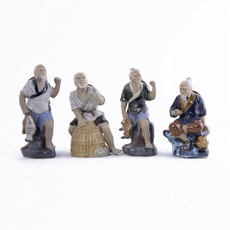Fisherman Figurines Chinese Mud men (Set of 4)