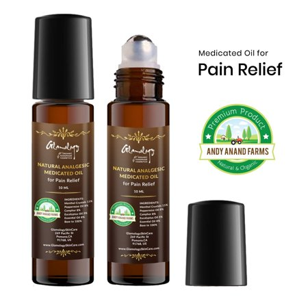 Andy Anand Natural Analgesic Medicated Oil for Pain Relief Muscle Aches, Backache, Arthritis, Bruises, Strains and Sprains, OTC Roll-On Application, 100% Natural (10