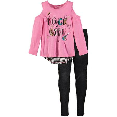 14da4ca95ce01 Kid Topia - Kidtopia Little Girls 4-6X Rock Girl Denim Legging Set -  Walmart.com