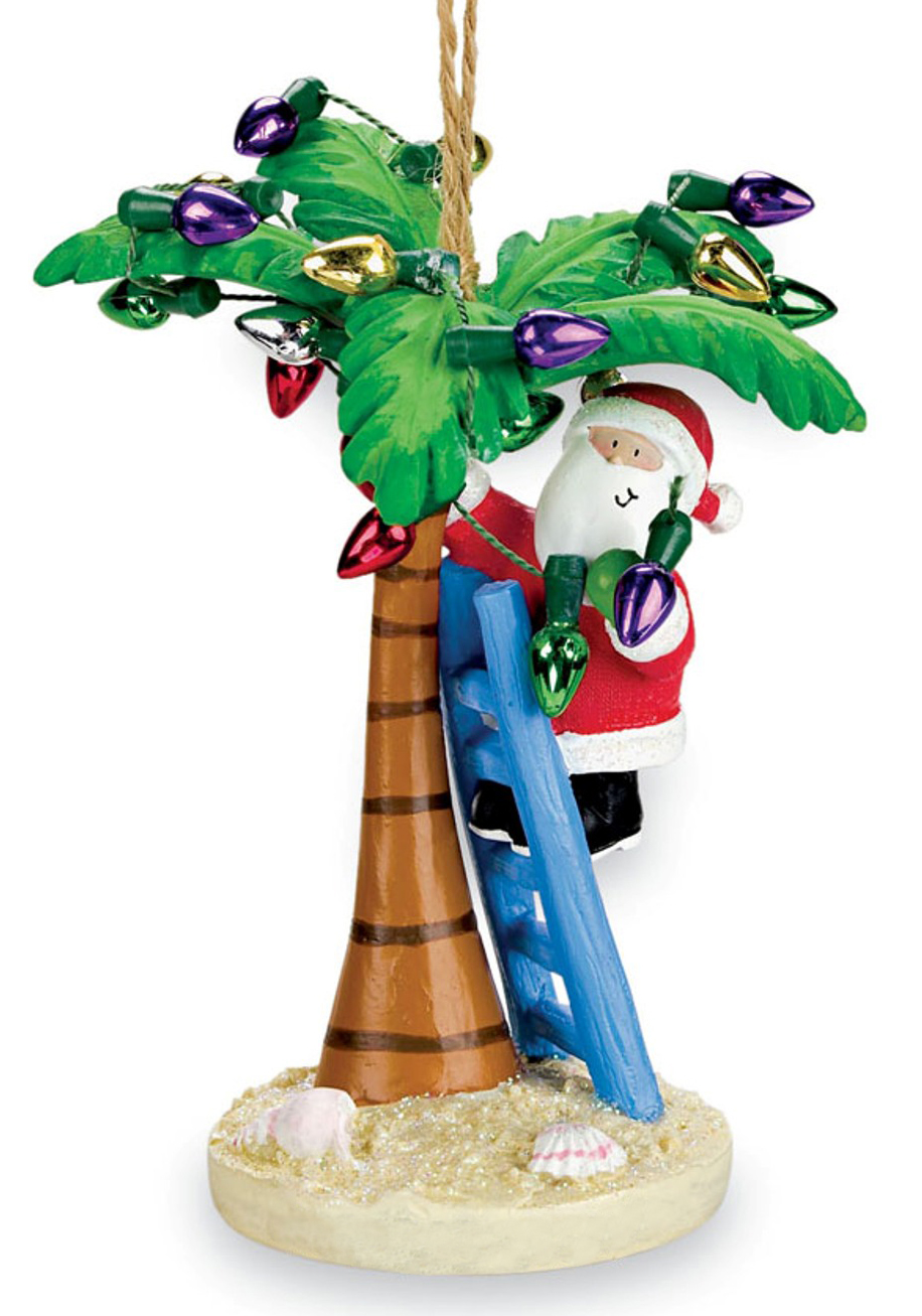 coastal santa decorating tropical island palm tree christmas ornament walmartcom