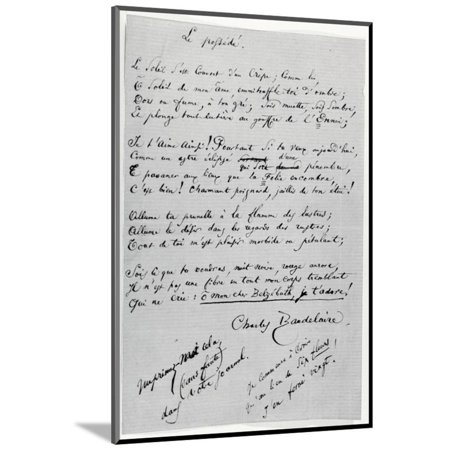 Le Possede' Autograph Poem (Pen and Ink on Paper) Wood Mounted Print Wall Art By Charles Pierre