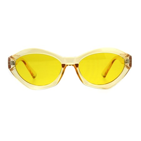 Womens Mod Narrow Oval Angular Geometric Cat Eye Sunglasses Yellow