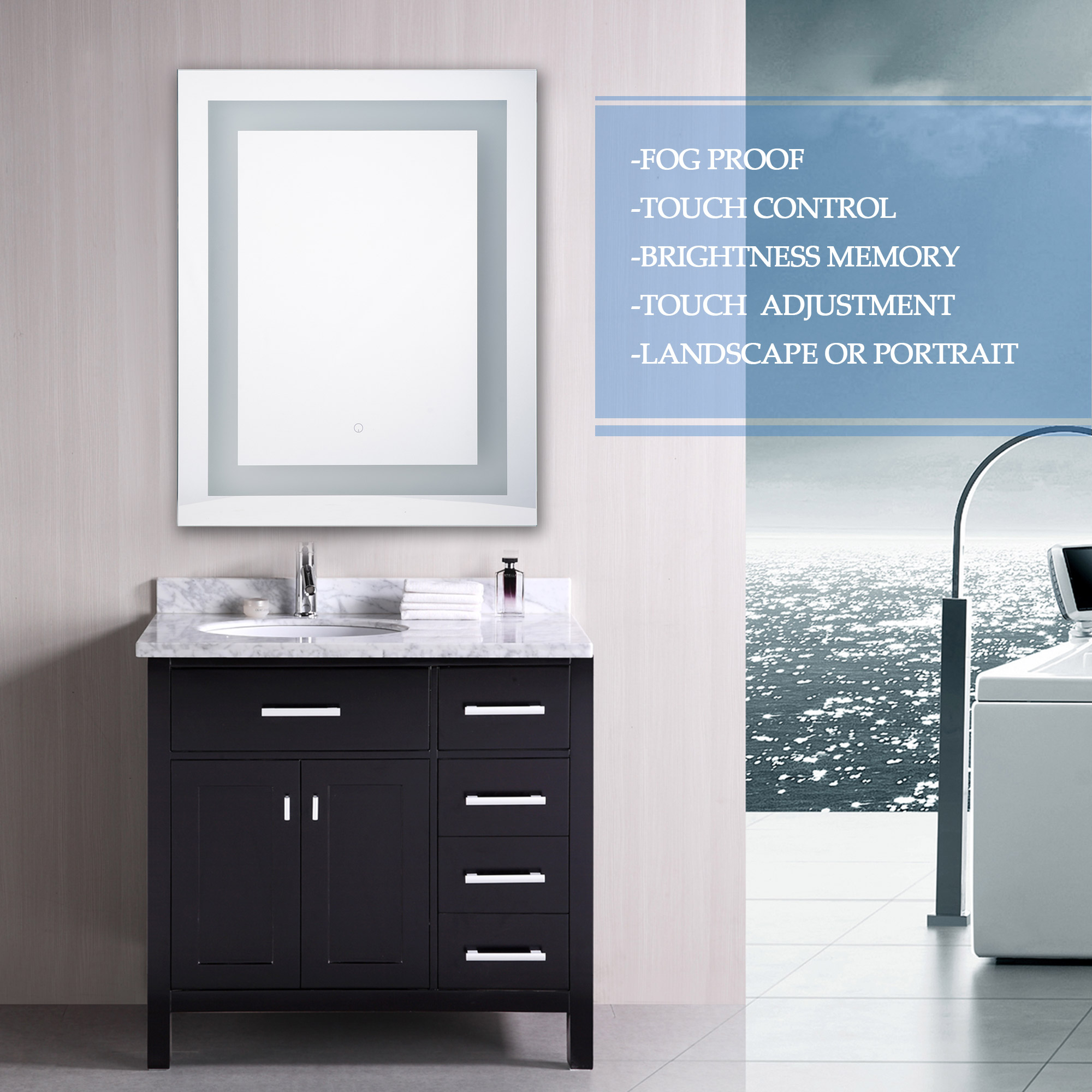 30 In. X 24 In. LED Wall Mounted Bathroom Lighted Mirror Vanity Dimmable