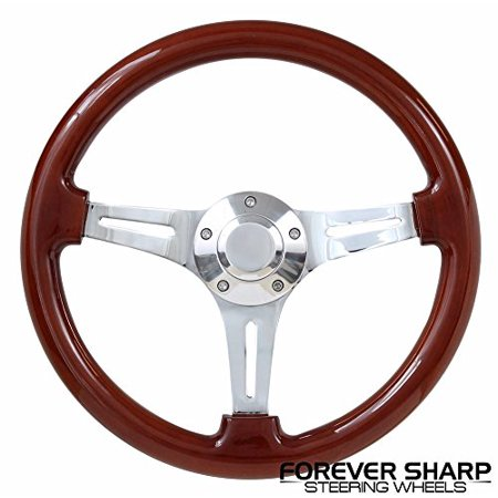 - Classic Wood Chrome Ezgo Golf Cart Gem Par Car Star Steering Wheel Set