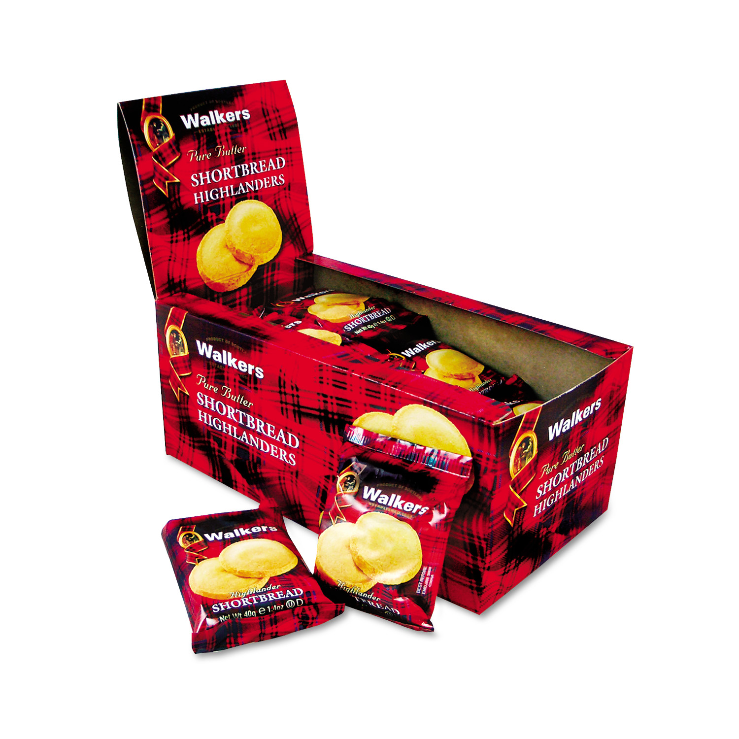 Walkers Shortbread Highlander Cookies, 1.4oz, 2 Pack, 12 Packs/Box