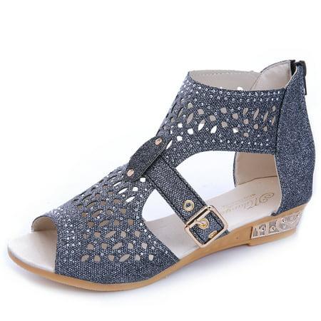 Women Gladiator Wedges Sandals Hollow High Heels Shoes ()
