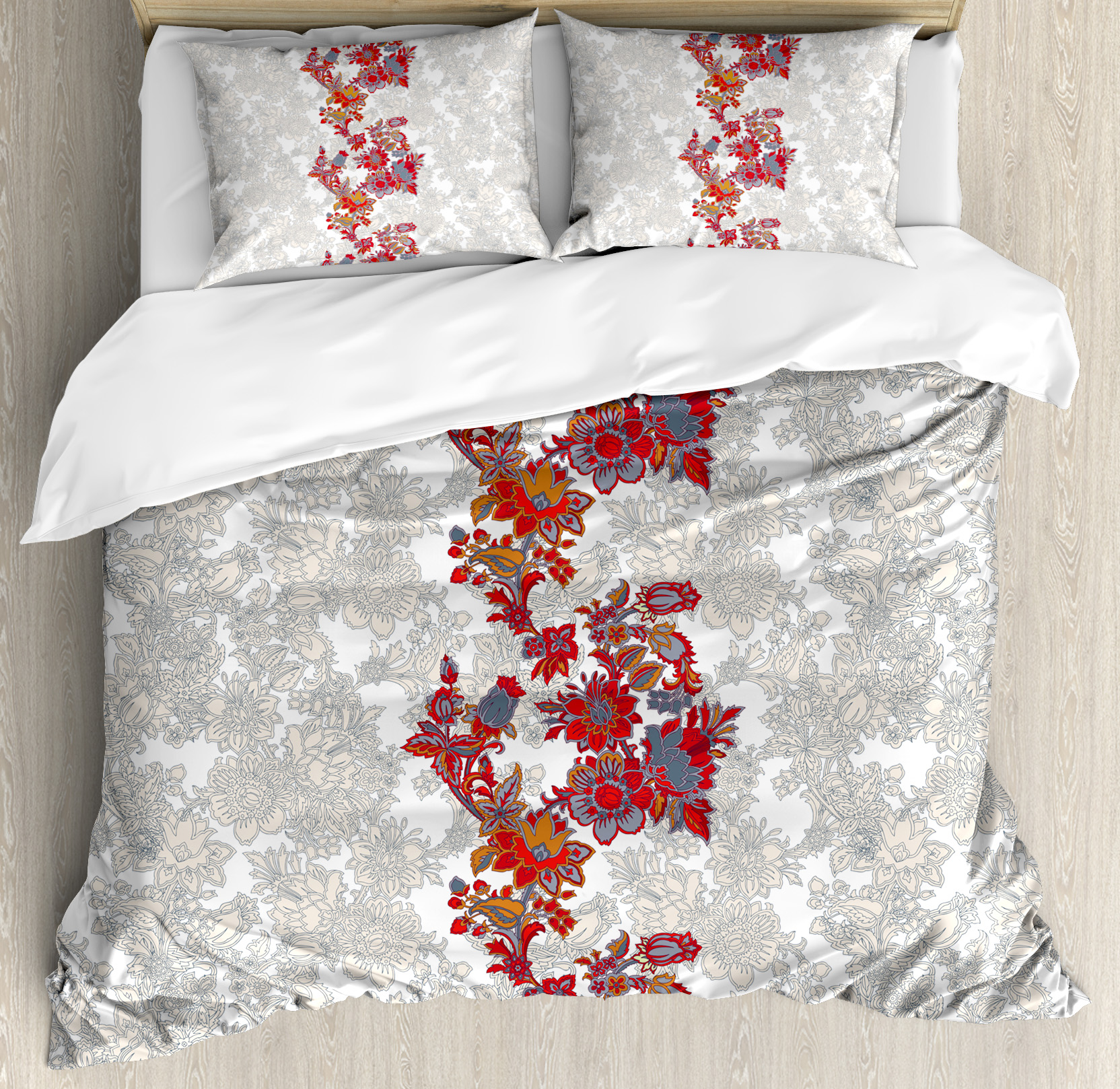 Ambesonne Floral Romantic Boho Style Narcissus Duvet Set