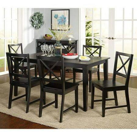 virginia 7 piece dining set black. Black Bedroom Furniture Sets. Home Design Ideas