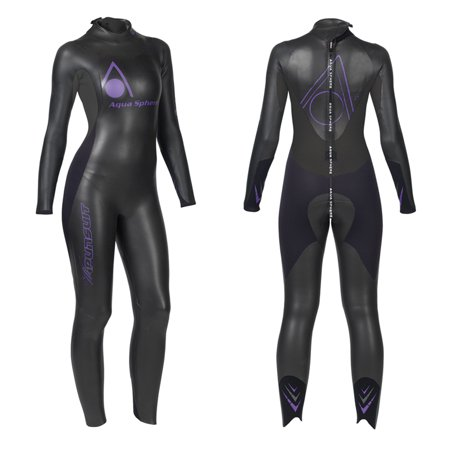 Aqua Sphere Womens Powered Pursuit Wet Suit  Black Purple  X Small