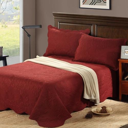Tache Home Fashion Autumn Marsala Reversible Bedspread Set