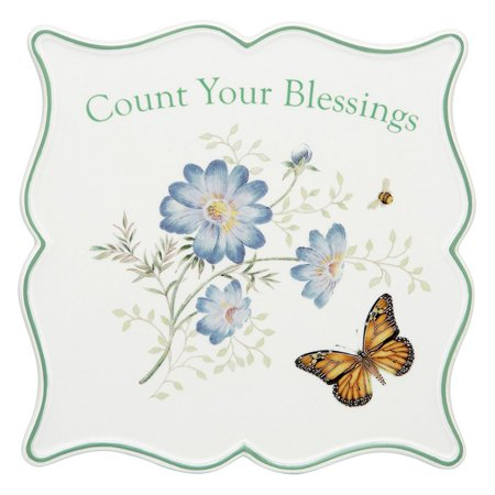 Lenox Butterfly Meadow Sentiment Trivet Count Your Blessings