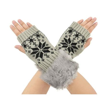 Simplicity Snowflake Winter Warmer Faux Knitted Hand Wrist Fingerless Gloves, Light Grey3 - Mj Gloves