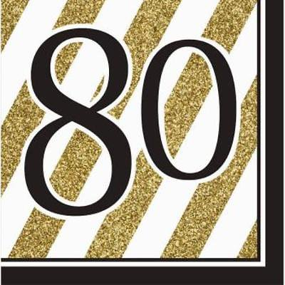 80th Birthday Napkins (Black and Gold 80th Birthday Lunch Napkins ,)