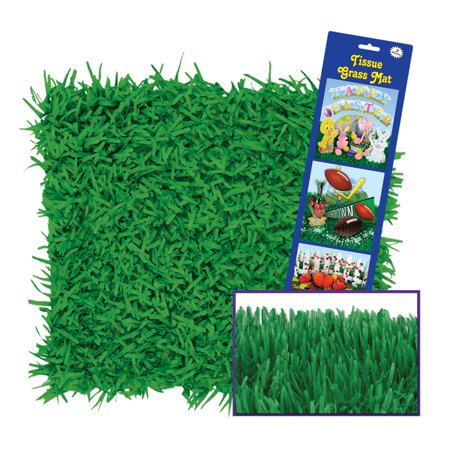 Club Pack of 36 Green Easter Tissue Grass Mats 15