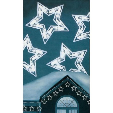 Set of 10 Clear Twinkling Star Icicle Christmas Lights - White