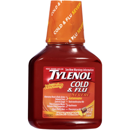 Tylenol Warming Honey Lemon Severe Cold & Flu Liquid, 8 oz