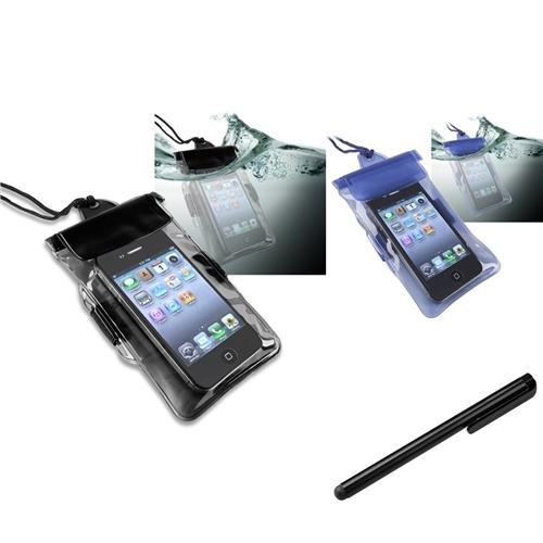 Insten 2in1 Black+Blue Waterproof Bag Case For iPhone 5 5G 5th 4 4S 4g+Black Stylus