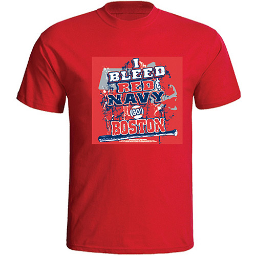 "Boston Baseball ""I Bleed Red and Navy Go Boston!"" Red T-shirt"