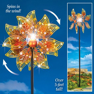 Collections Etc Double Gl Leaves Solar Wind Spinner Decorative Garden Stake Lighted Outdoor Décor