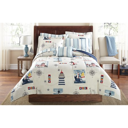 Mainstays Lighthouse Bed in a Bag Coordinated Bedding, Queen