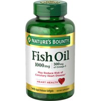 Nature's Bounty Fish Oil 1000 mg, 145 ct, Cholesterol Free Omega-3 Softgels