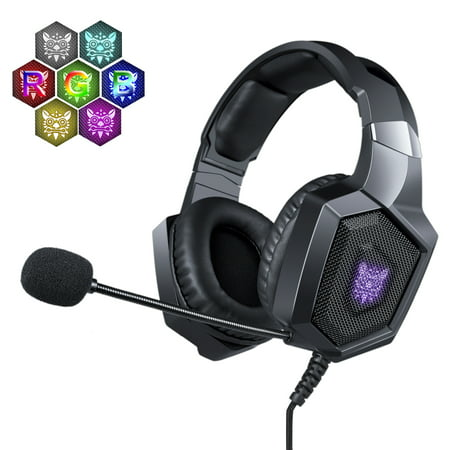 NERDI Gaming Headset for PS4,Xbox One,PC,Mac,Gaming Headphone Stereo Over  Ear Bass with Mic (Black)
