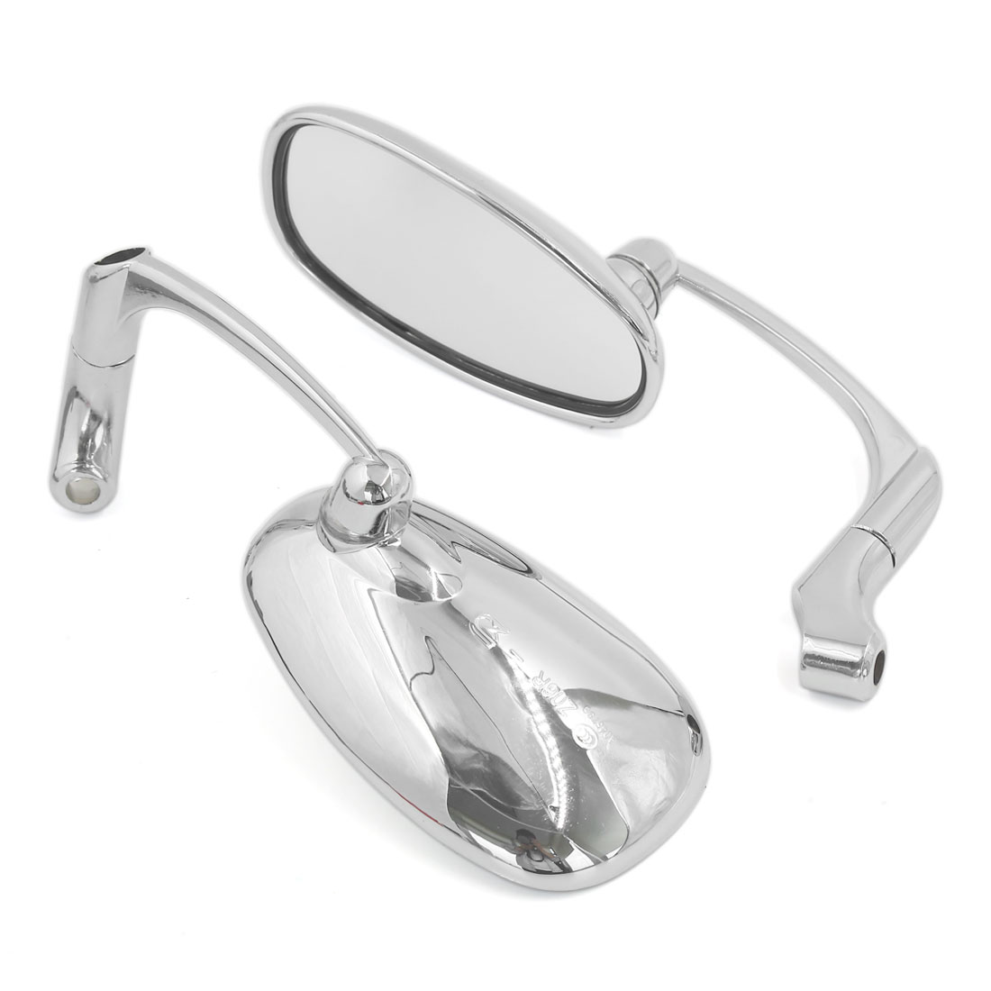 Pair Chrome Oval Shaped Flat Glass Motorcycle Rearview Side Mirror for Suzuki ZB