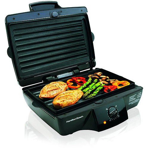 "Hamilton Beach 185"" Indoor Grill with Removable Grids, Black, 25325"