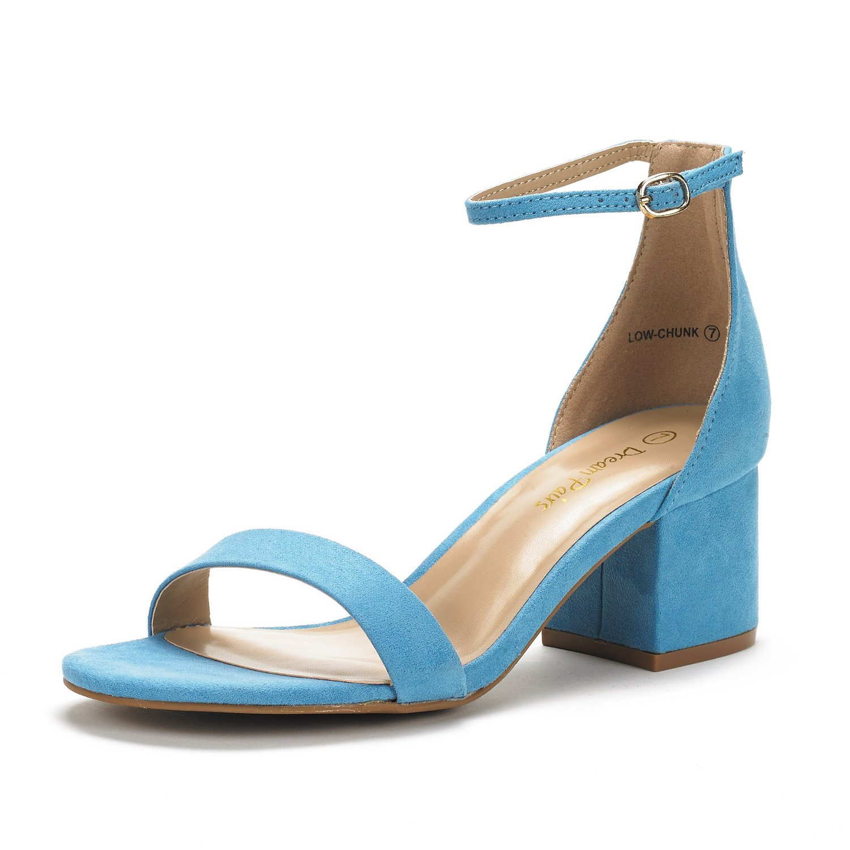 DREAM PAIRS Womens Chunk Low Heel Pump Sandals