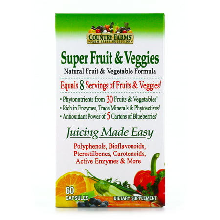 Country Farms Super Fruit and Veggies Capsules, 30 Fruits and Vegetables, 30 servings
