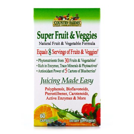 Country Farms Super Fruit and Veggies Capsules, 30 Fruits and Vegetables, 30 - 30 Vegetable Caps