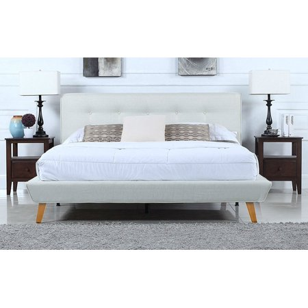 Mid Century Ivory Linen Low Profile Platform Bed Frame With Tufted