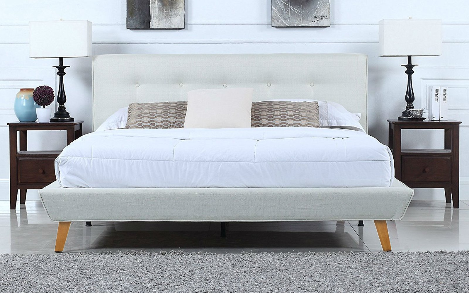 Mid Century Ivory Linen Low Profile Platform Bed Frame With Tufted  Headboard Design (Queen)