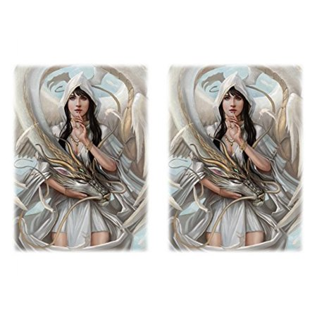 100 Let Sleeping Dragon Lie Deck Protectors Max Protection Shuffle Tech Art Sleeves 2-Packs - Standard Magic the Gathering Size White ()