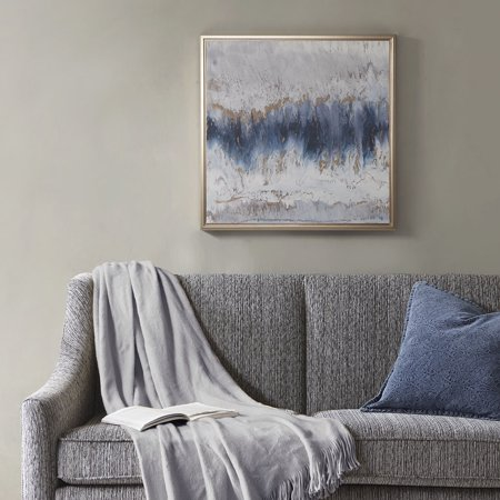 Home Essence Blue Embrace Framed Canvas With Gel Coat And Gold Foil