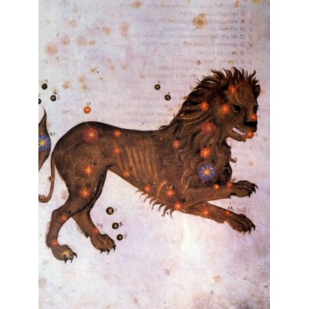 Leo or Lion Signs of the Zodiac by artist unknown (from Atlas Celeste De Strabov) Canvas Art - (18 x 24)