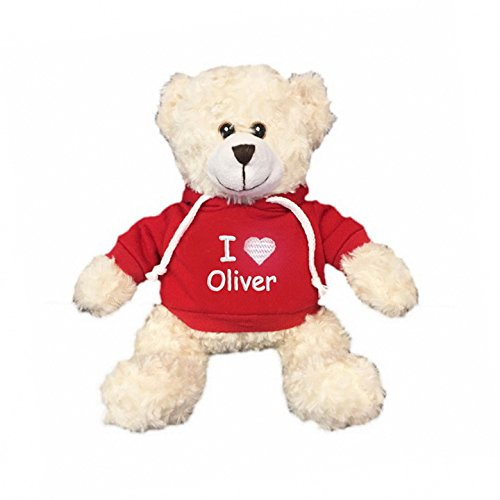 Personalized I Love Snuggle Bear - Cream, 11 inch (Red Hooded Shirt)