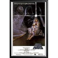 FRAMED Star Wars - A New Hope (Style A) 24x36 Poster in Black Detail Finish Crafted in USA