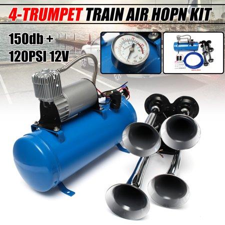 Off Road Air Compressor (12V 24V Car 4 Air Train Horn Semi Chrome Horn 120 PSI Blue Compressor Universal For Truck SUV Vehicle Quad Boat RV Off Road US )