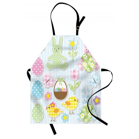 Easter Apron Nursery Theme Bunnies and Chicks with Giant Eggs Pastel Colored Holiday Illustration, Unisex Kitchen Bib Apron with Adjustable Neck for Cooking Baking Gardening, Multicolor, by