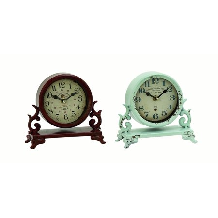 Decmode Traditional 7 X 7 Inch Iron Scrollwork Analog Table Clocks - Set of 2 (Round Set Clock)