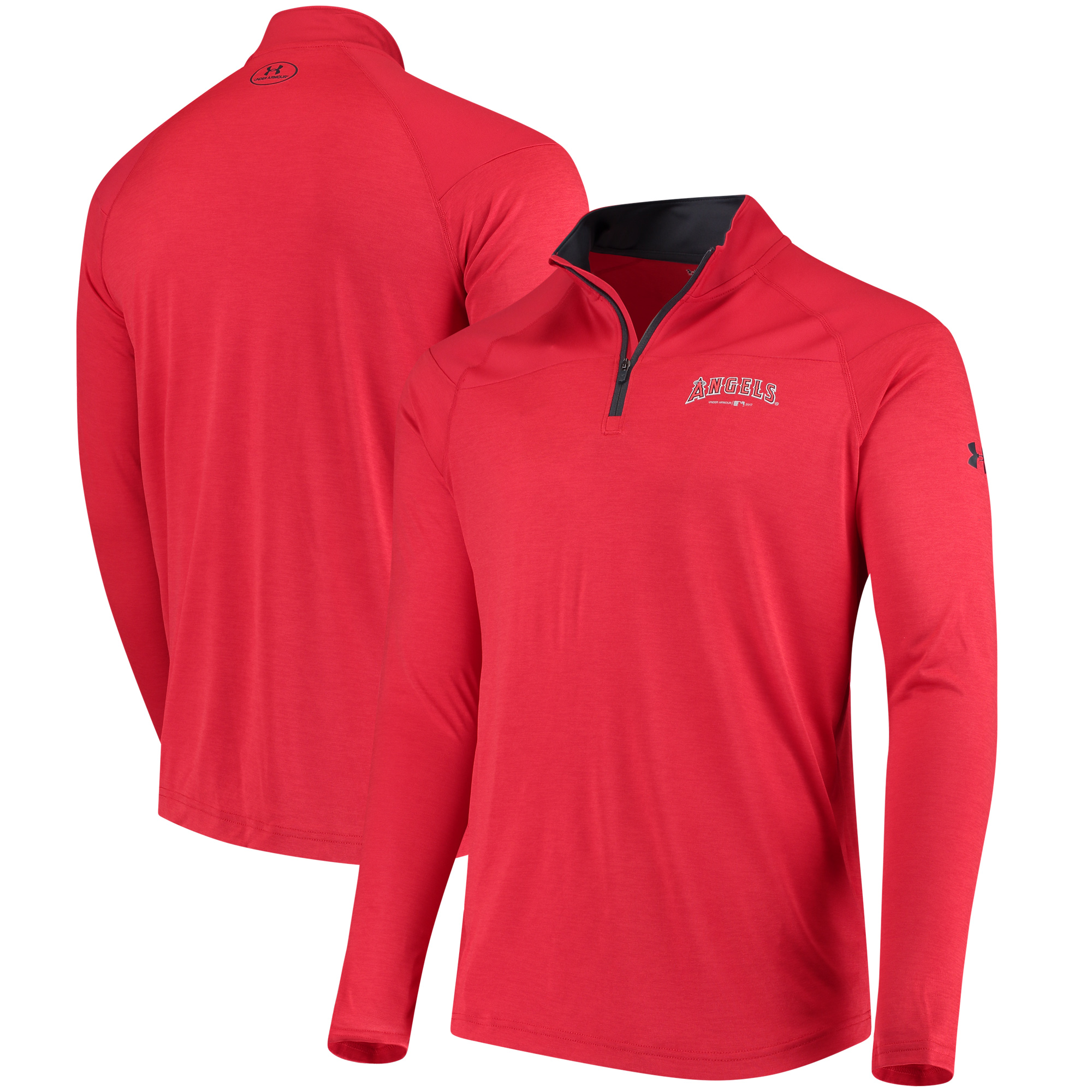 Men's Under Armour Red Los Angeles Angels Tech Tonal Twist Quarter-Zip Pullover Jacket